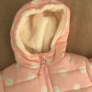 OshKosh BGosh Girls Pink Polka Dot Hooded Peplum Bunting